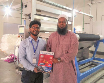 Figure 2: Md Habibur Rahman, DGM, Northern Tosrifa Group (Fabric Division), with Textile Today Industry Correspondent (author of this article) in front of CPB dyeing machine.